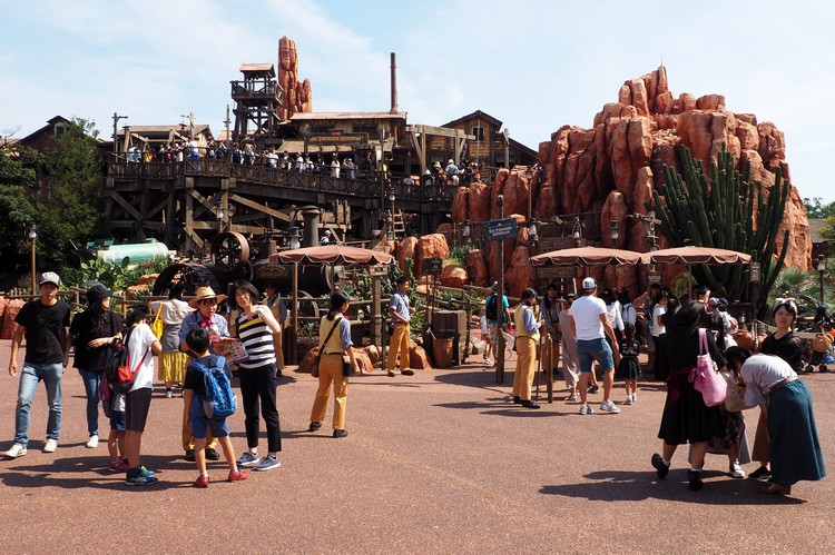 entrance to Big Thunder roller coaster in Westernland of Tokyo Disneyland Japan