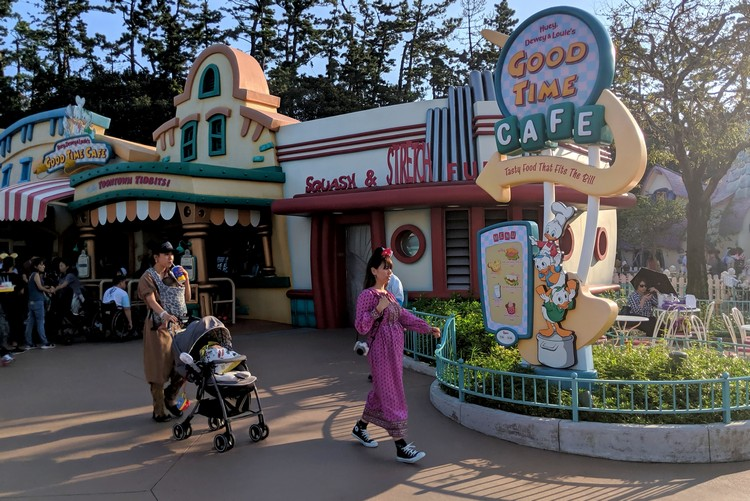 outside view of Good Time Cafe in Toontown in Tokyo Disneyland