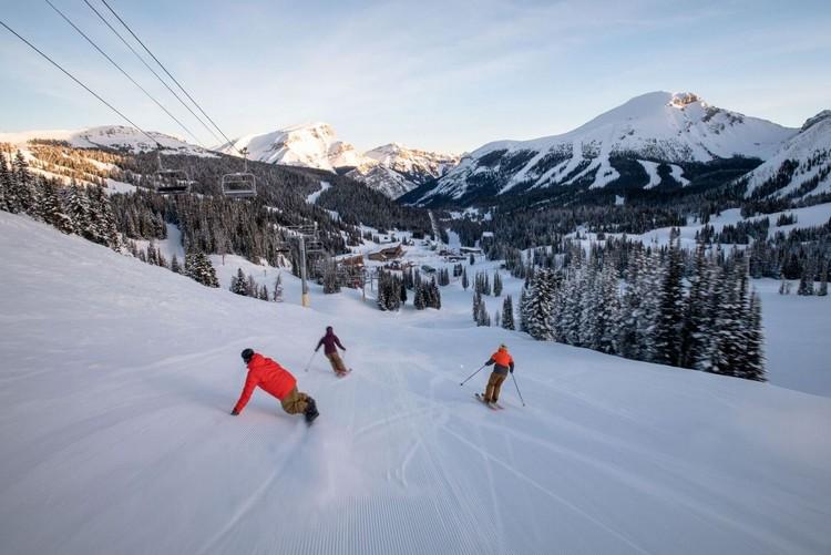 skiing at Banff Sunshine Village Canadian Rockies in Alberta Canada