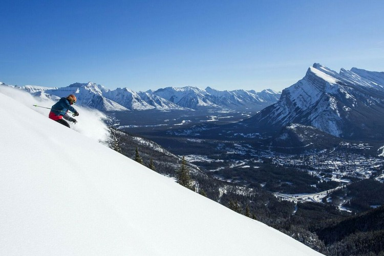 skiing at Mt Norquay in Banff National Park