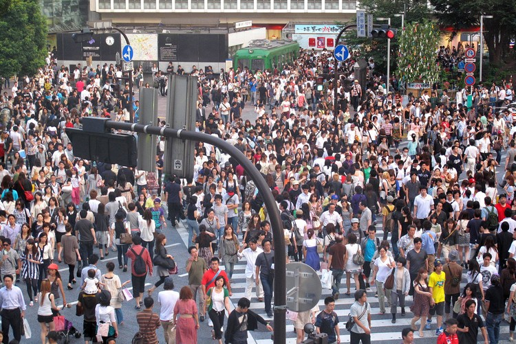 busy Shibuya Crossing Tokyo during daytime, view from Starbucks