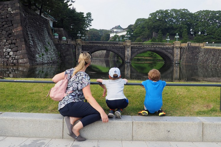 Tokyo Imperial Palace with bridge and castle in the distance