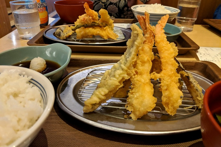 Japanese food, tempura prawn and vegetable at Tokyo restaurant
