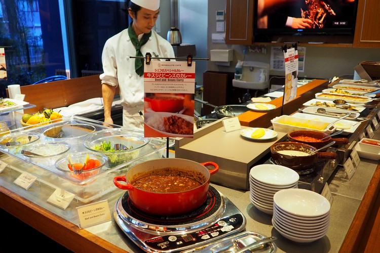 The breakfast buffet at the Hotel Gracery Tamachi in Tokyo Japan