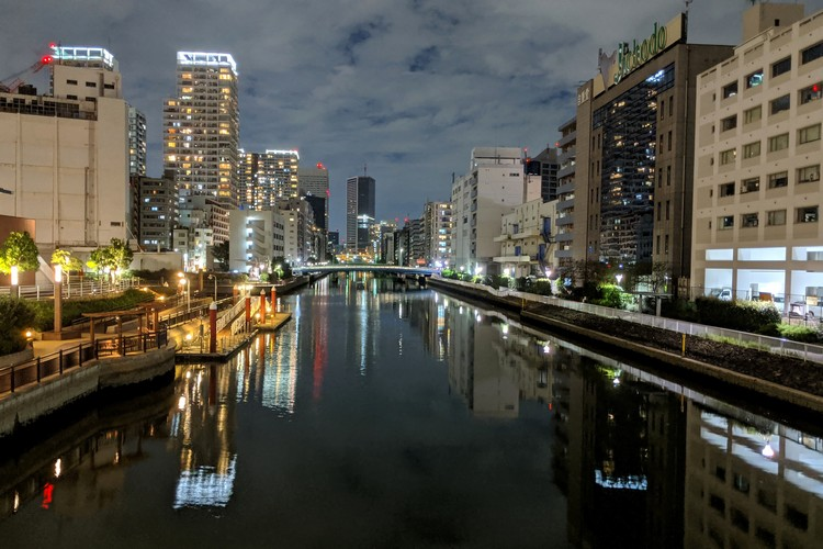 tokyo night scene reflection on river