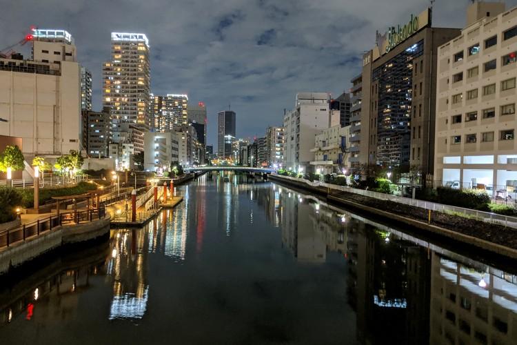 tokyo night scene reflection on river