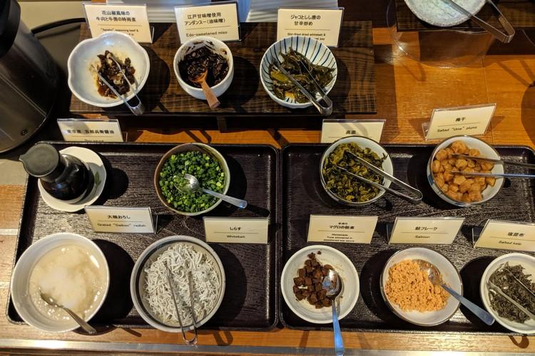 The breakfast buffet items at the Hotel Gracery Tamachi in Tokyo, Japan. Eating breakfast in Japan