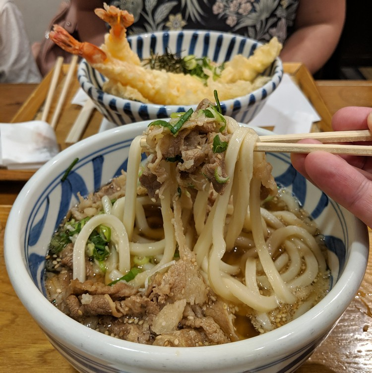 bowl of udon noodle soup with beef served in Tokyo Japan, with tempura udon Japanese cuisine
