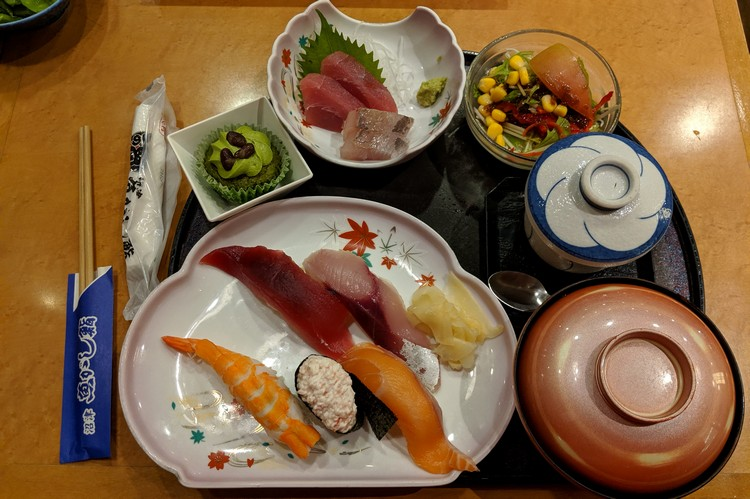sushi and sashimi platter served at Tokyo restaurant, food in Japan, Japanese cuisine