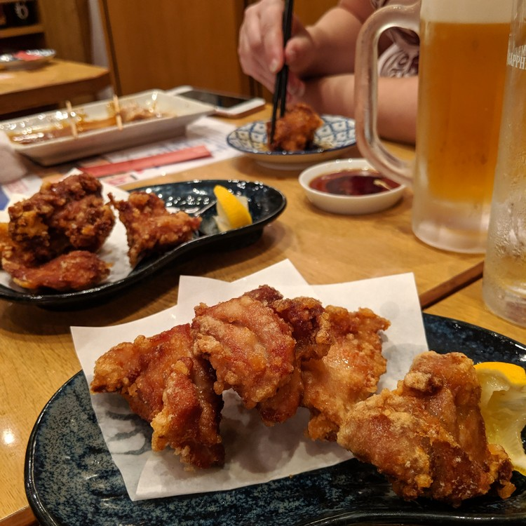 chicken karaage dish served at Japanese restaurant in Kobe Japan. Popular food in Japan for tourists