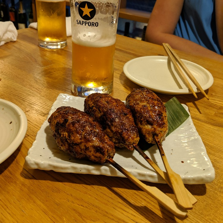 chicken meatball yakitori served at a Yakitori-ya in Kyoto