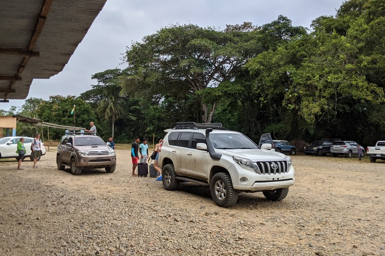 The parking lot at Carti in Guna Yala, Panama, Central America travel