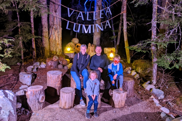 Family portrait at the end of the trail inside Vallea Lumina Whistler