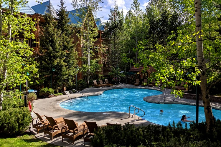 outdoor pool at Embarc hotel in Whistler British Columbia Canada
