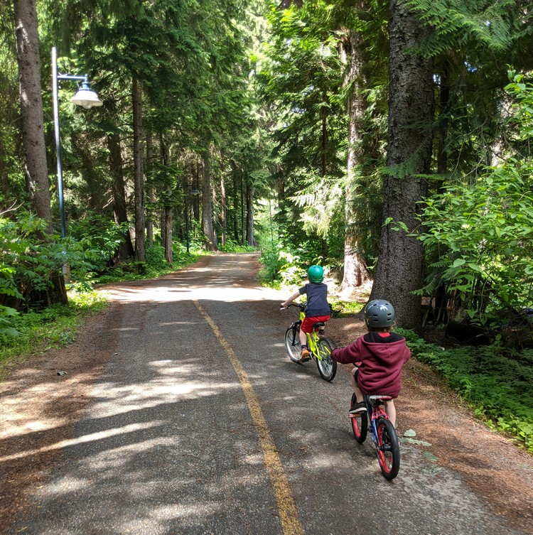 Kids Bike ride Whistler Valley Trail in Whistler Village