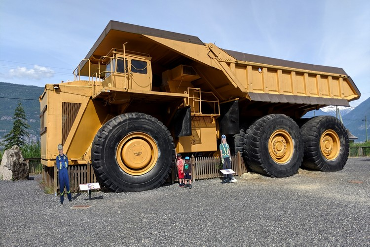 big yellow dump truck at Britannia Mine Museum