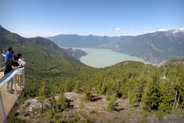views of Howe Sound from Sea to Sky Gondola observation deck, best things to do along the Sea to Sky Highway