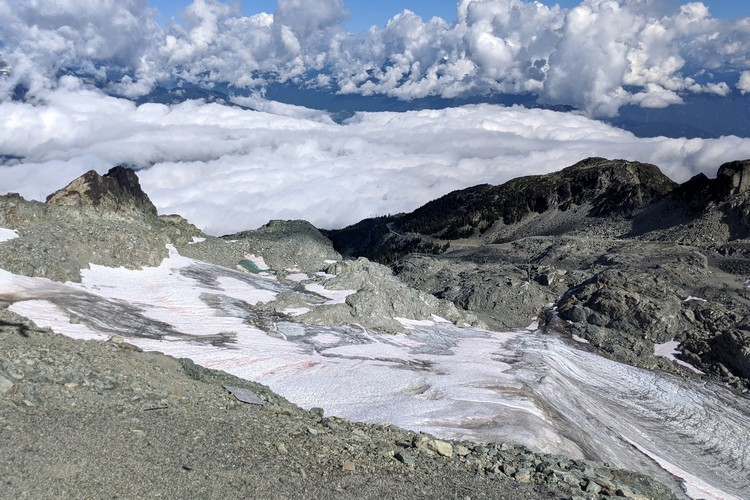 Stunning landscape views of Horstman Glacier on Blackcomb Mountain in Whistler.