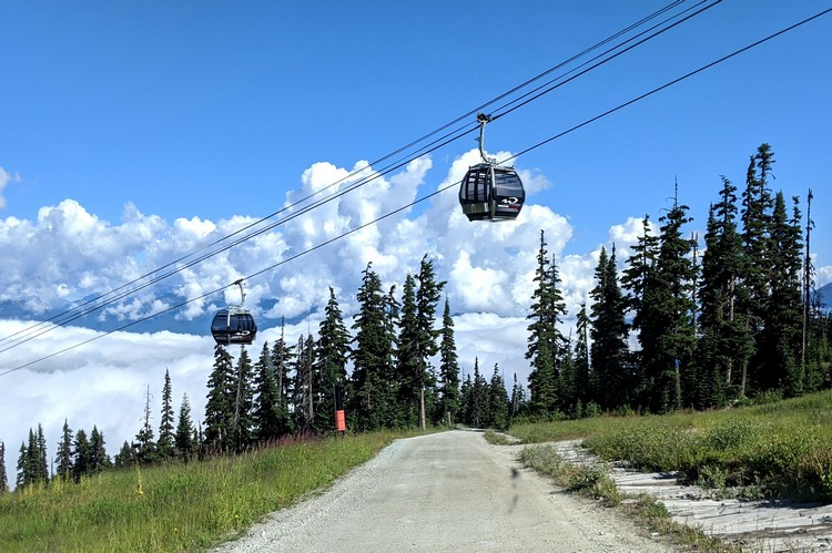 The new Blackcomb Gondola on Blackcomb Mountain during the summer months
