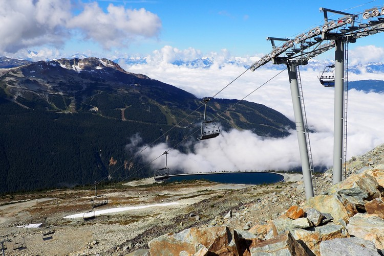 Views of Whistler Mountain in the summer from the top of 7th Heaven Chair lift on Blackcomb Mountain