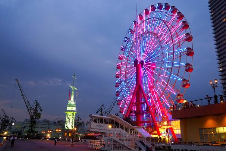Mosaic Ferris Wheel at night, Kobe Harborland night photography