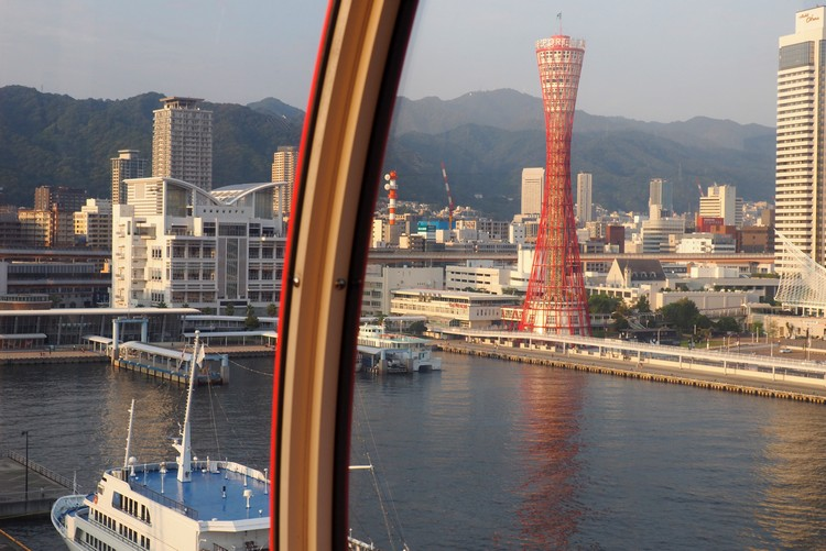 Views of the Kobe Port Tower and Mount Rokko from inside the Mosaic Ferris Wheel, things to do in Kobe Japan
