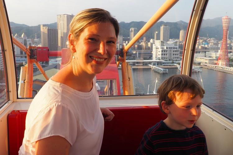 All smiles inside the Mosaic Ferris Wheel at Kobe Harborland