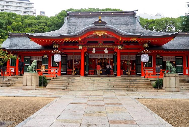 main hall and temple inside Ikuta Shrine in Kobe Japan