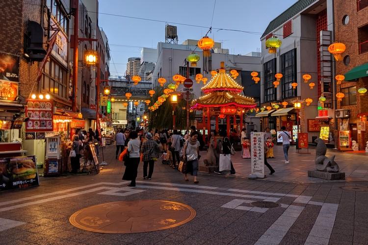 The gazebo in Nankinmachi Square in Kobe Chinatown - things to do in Kobe Japan