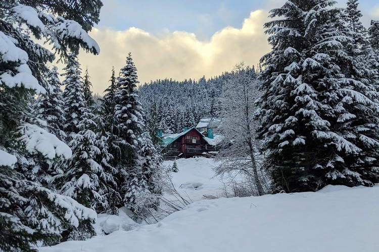 winter cabin at Sasquatch Mountain in British Columbia Canada