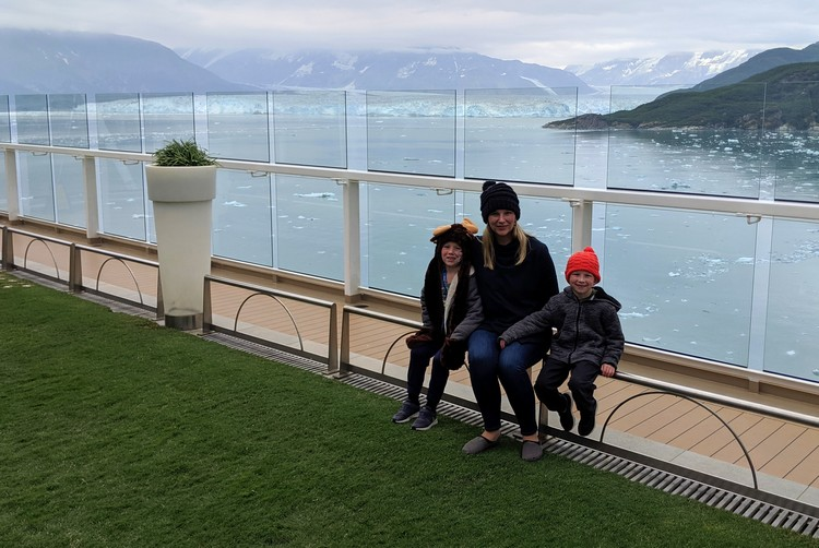 view from upper deck on Alaska cruise ship viewing Hubbard Glacier and icebergs