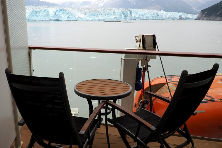 witnessing the Hubbard Glacier from deck of stateroom on Alaska cruise ship Celebrity Eclipse