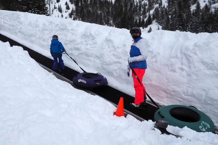 going up tubing magic carpet at Sasquatch Mountain Resort