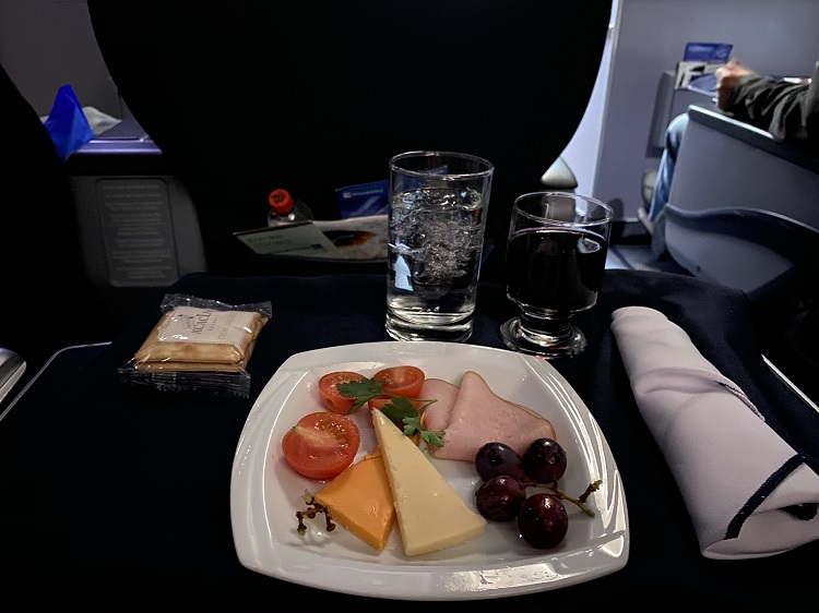Cheese platter in Business on Copa Airlines