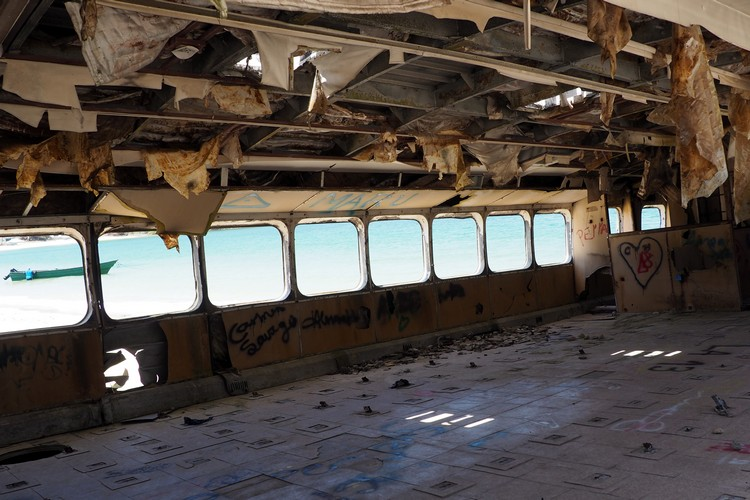 inside the shipwrecked ferry on Contadora Island. It's been completely gutted and left to rot on the beach.