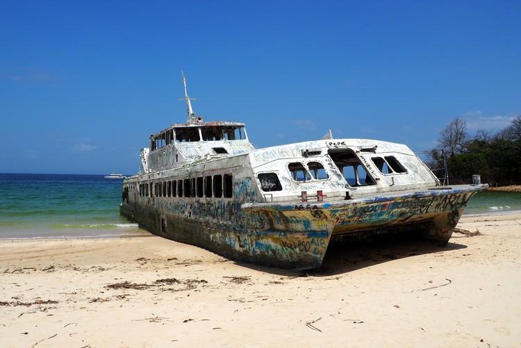 broken ferry on the beach of Contadora Island in Panama Pacific Ocean