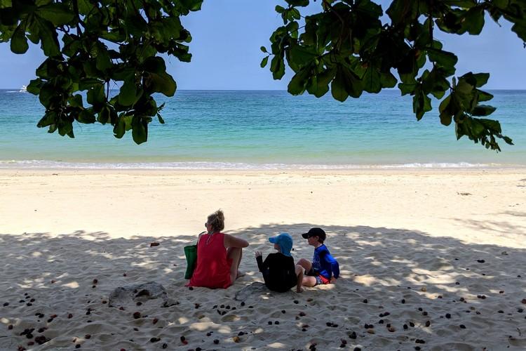 sitting in the shade at Playa Larga Contadora Island Panama