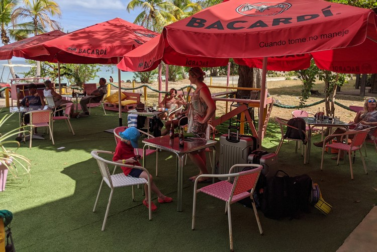 cafe waiting area beside Sea Las Perlas check in on Contadora Island beside abandoned Hotel Contadora, Pearl Islands Panama