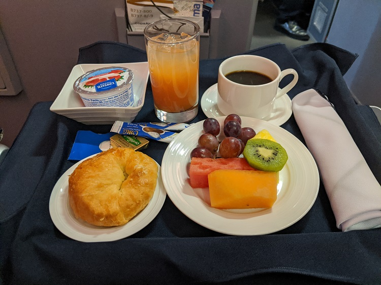 Copa Airlines Business Class breakfast