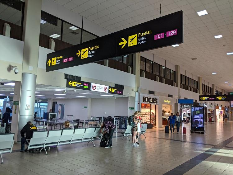 signs inside Tocumen International Airport in Panama City, Panama