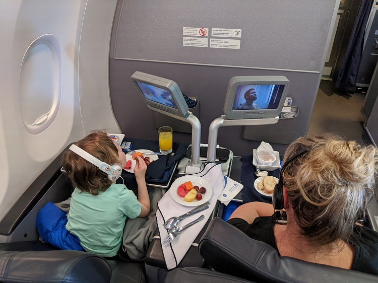 Eating breakfast on Copa Airlines Flight in Business Class