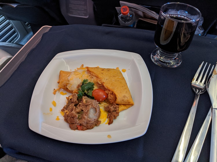 Lunch meal on Business Class seats Copa Airlines from USA to Panama