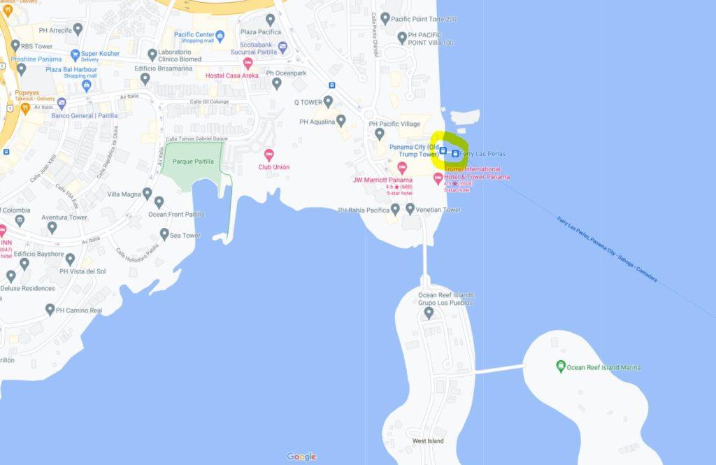map of Panama City ferry terminal to Contadora Island Ferry Las Perlas