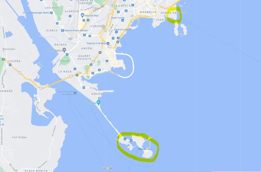 map showing the two Contadora Island ferry terminal locations in Panama City, Panama
