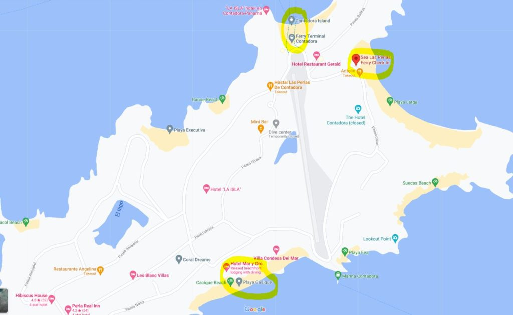 map of where Contadora Island ferry arrives and depart, Panama travel tips