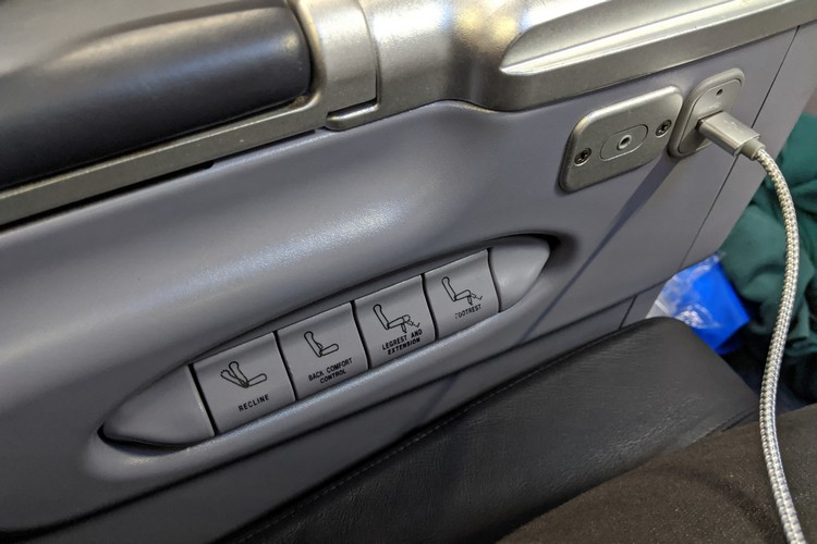 controls on the business class seats on Copa Airlines aircraft on flight to Panama City, Panama