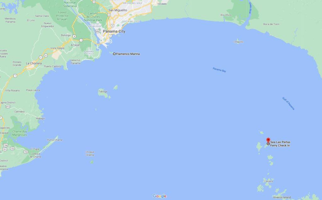 map of distance from Flamenco Marina Panama City to Sea Las Perlas Check in on Contadora Island, Panama