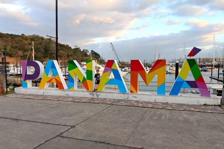 Panama sign at flamenco marina panama city panama