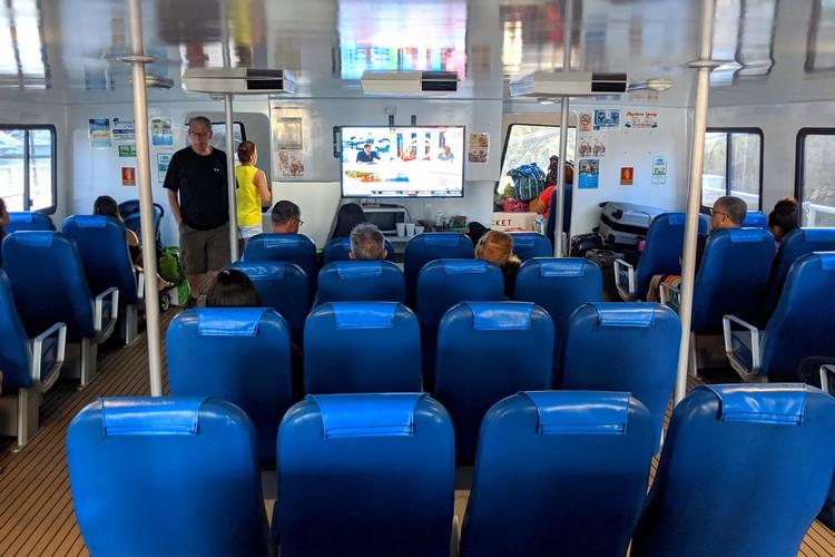 seats inside Contadora Island ferry from Panama City, Panama