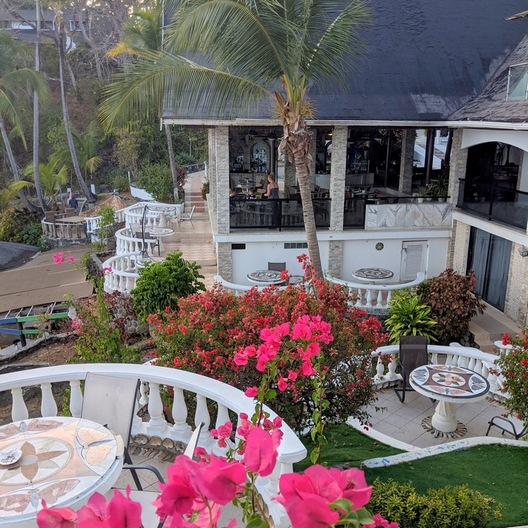 Hotel Mar y Oro restaurant and garden. views of the ocean and beach from open aired restaurant